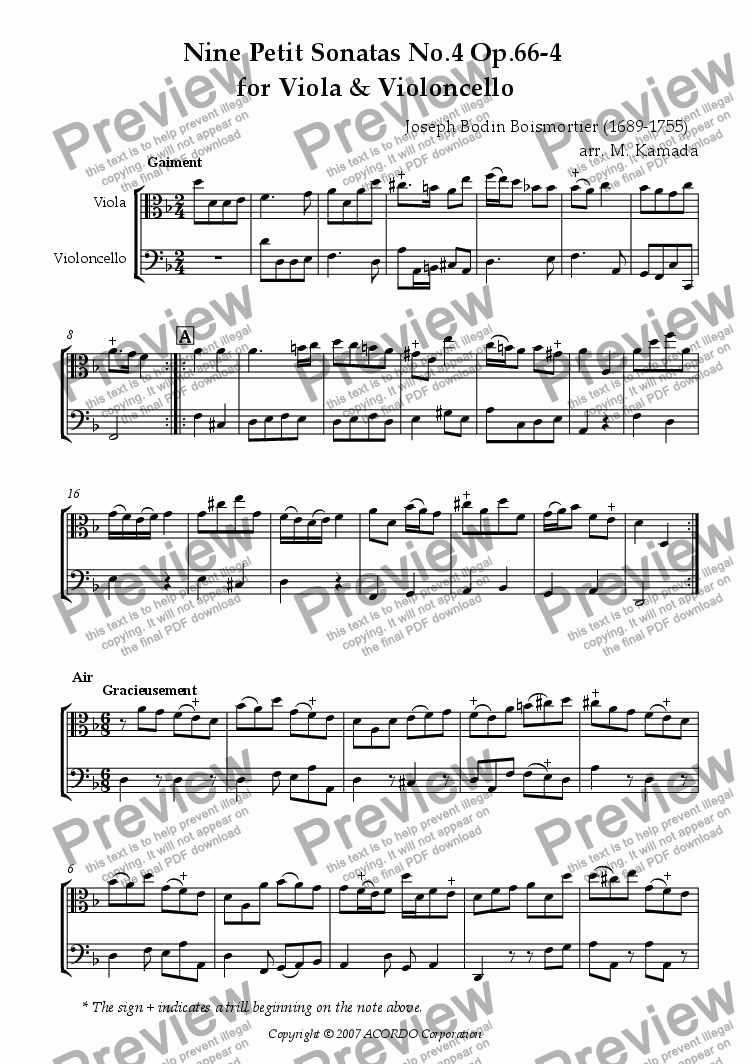 page one of Nine Petit Sonatas No.4 Op.66-4 for Viola & Violoncello
