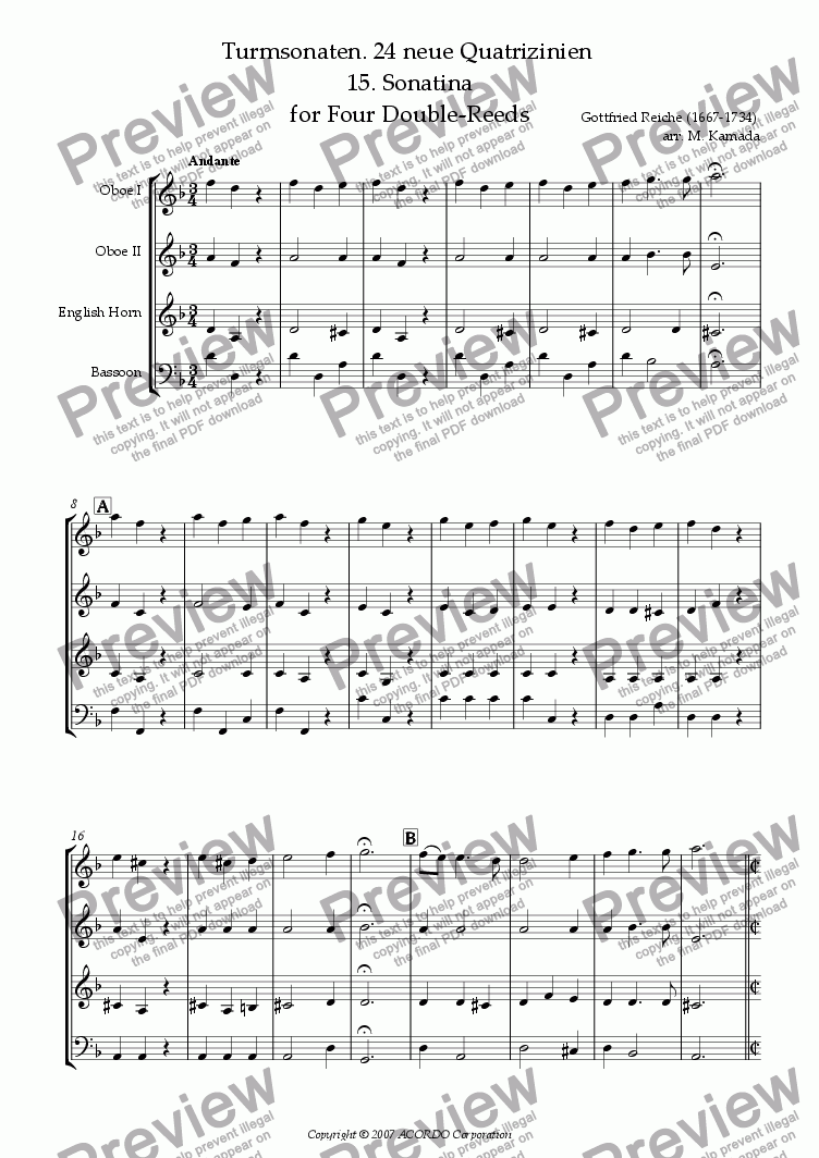 page one of Turmsonaten. 24 neue Quatrizinien 15. Sonatina for Four Double-Reeds