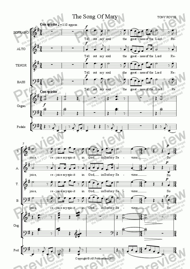 page one of Magnificat & Nunc Dimittis in E minor  (SATB + Organ)