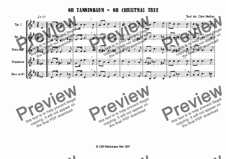Oh Tannenbaum Oh.Oh Tannenbaum Oh Christmas Tree For Brass Quintet By Anon Sheet Music Pdf File To Download
