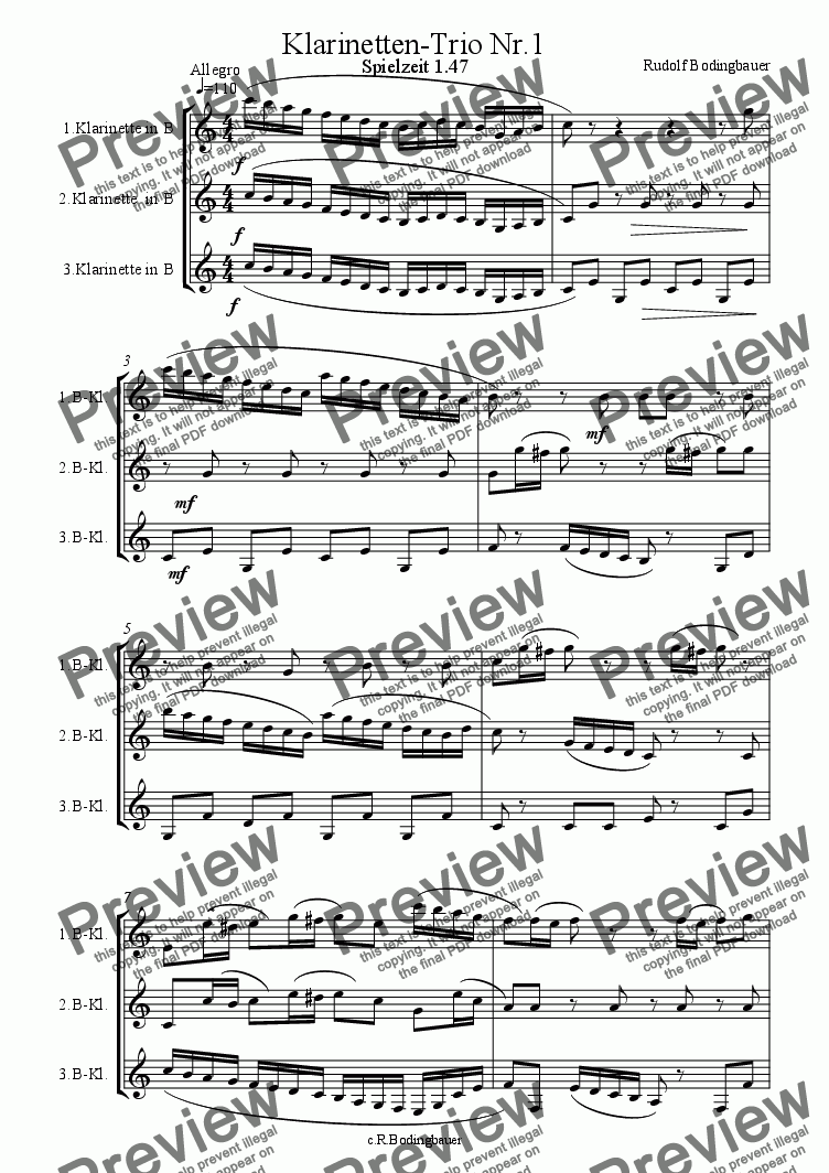 page one of Klarinetten Trio Nr.1ASALTTEXT