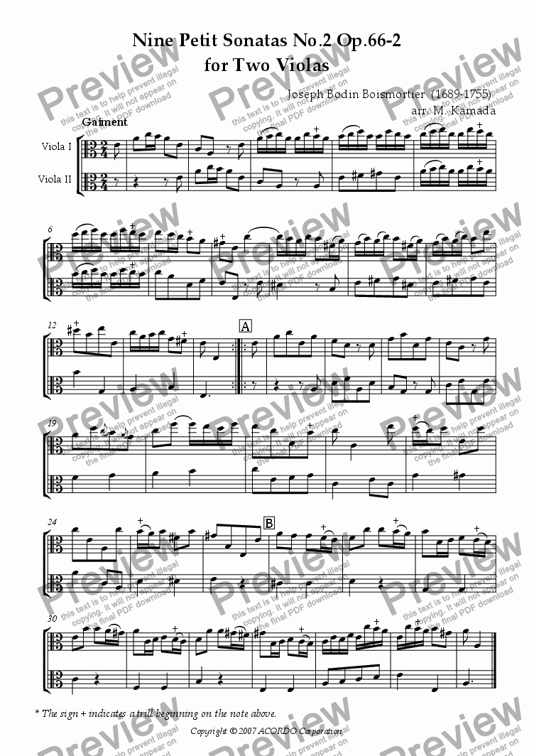 page one of Nine Petit Sonatas No.2 Op.66-2 for Two Violas