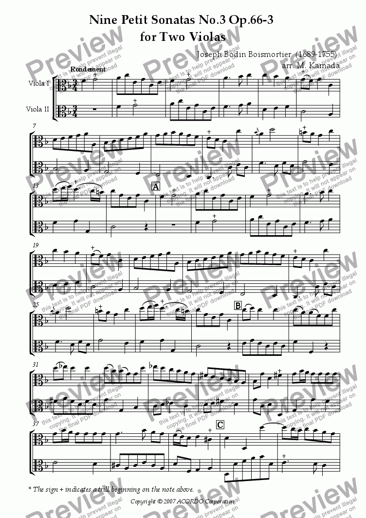 page one of Nine Petit Sonatas No.3 Op.66-3 for Two ViolasASALTTEXT