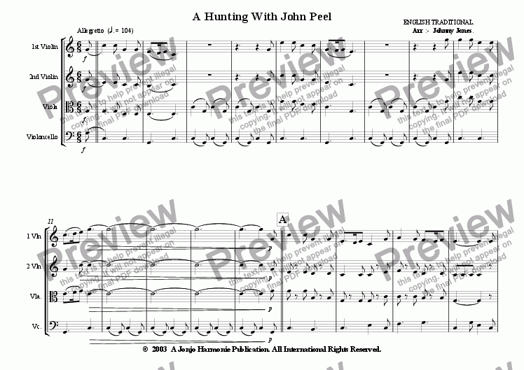 page one of A Hunting With John Peel   (String Quartet)