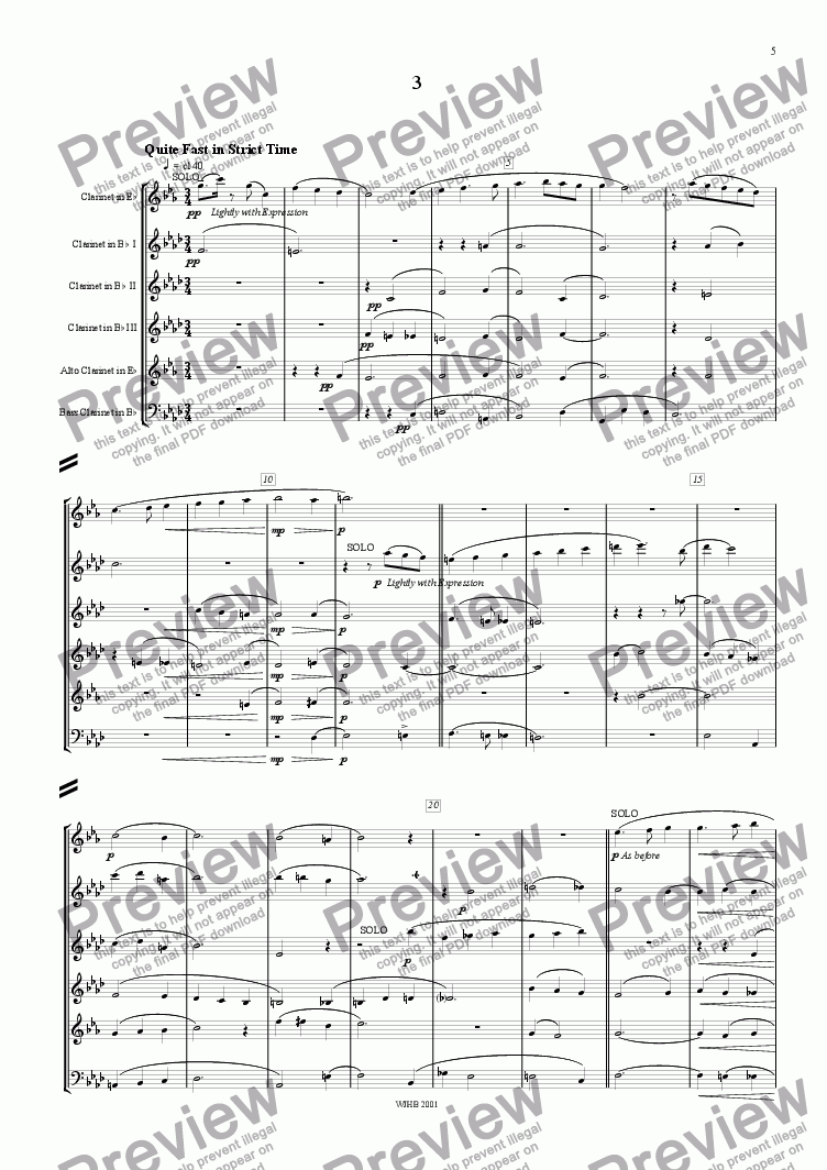 page one of Little Suite for Clarinet Sextet(3)