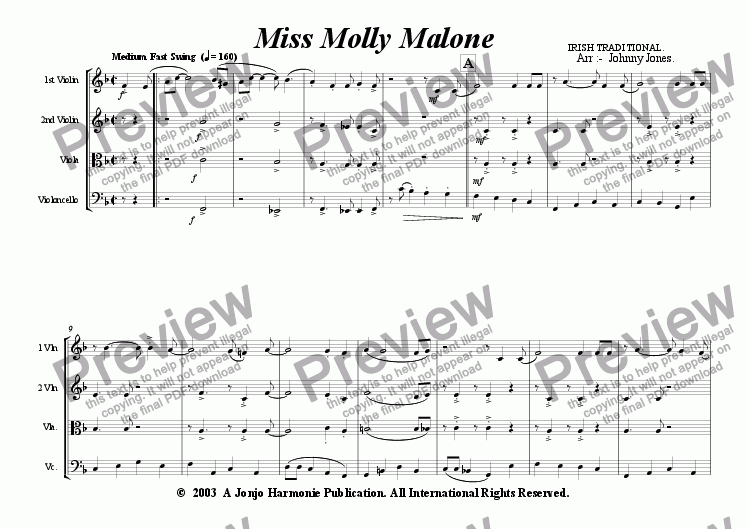 page one of Miss Molly Malone   (String Quartet)