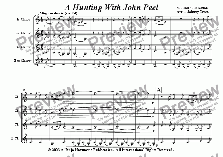 page one of A Hunting With John Peel  (Clarinet quartet)ASALTTEXT