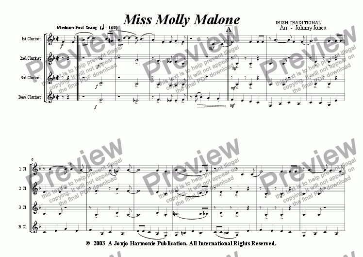 page one of Miss Molly Malone   (Clarinet Quartet)ASALTTEXT