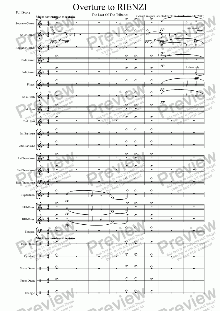 page one of BRASS BAND - Overture to Rienzi, The Last Of The Tribunes