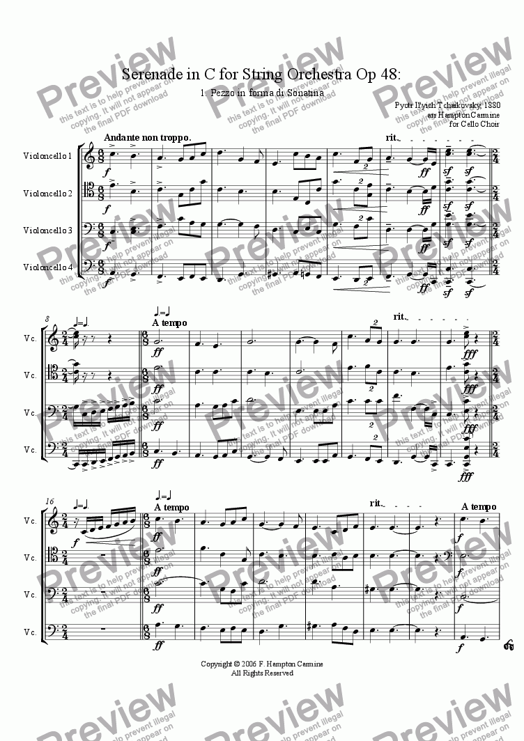 page one of Serenade in C for String Orchestra, Pezzo in forma di Sonatina, Op 48, Tchaikovsky