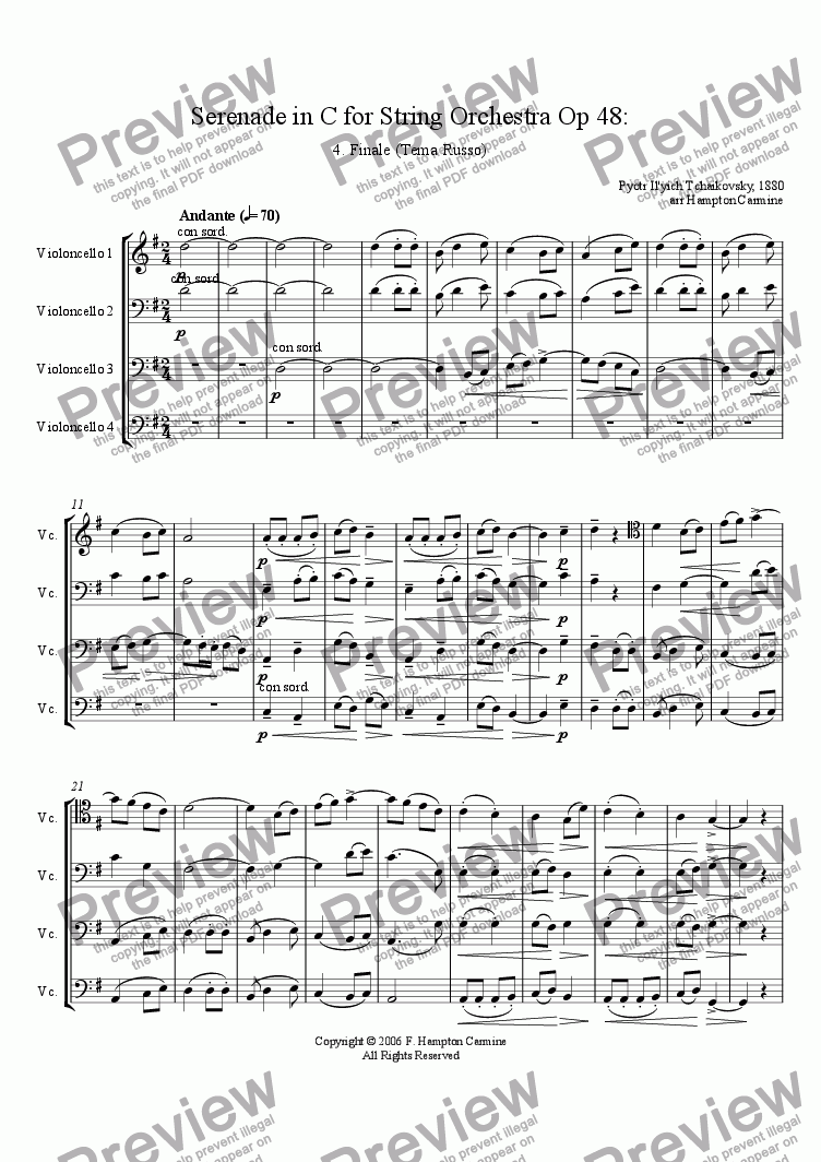page one of Serenade in C for String Orchestra,  Finale (Tema Russo), Op 48, TchaikovskyASALTTEXT