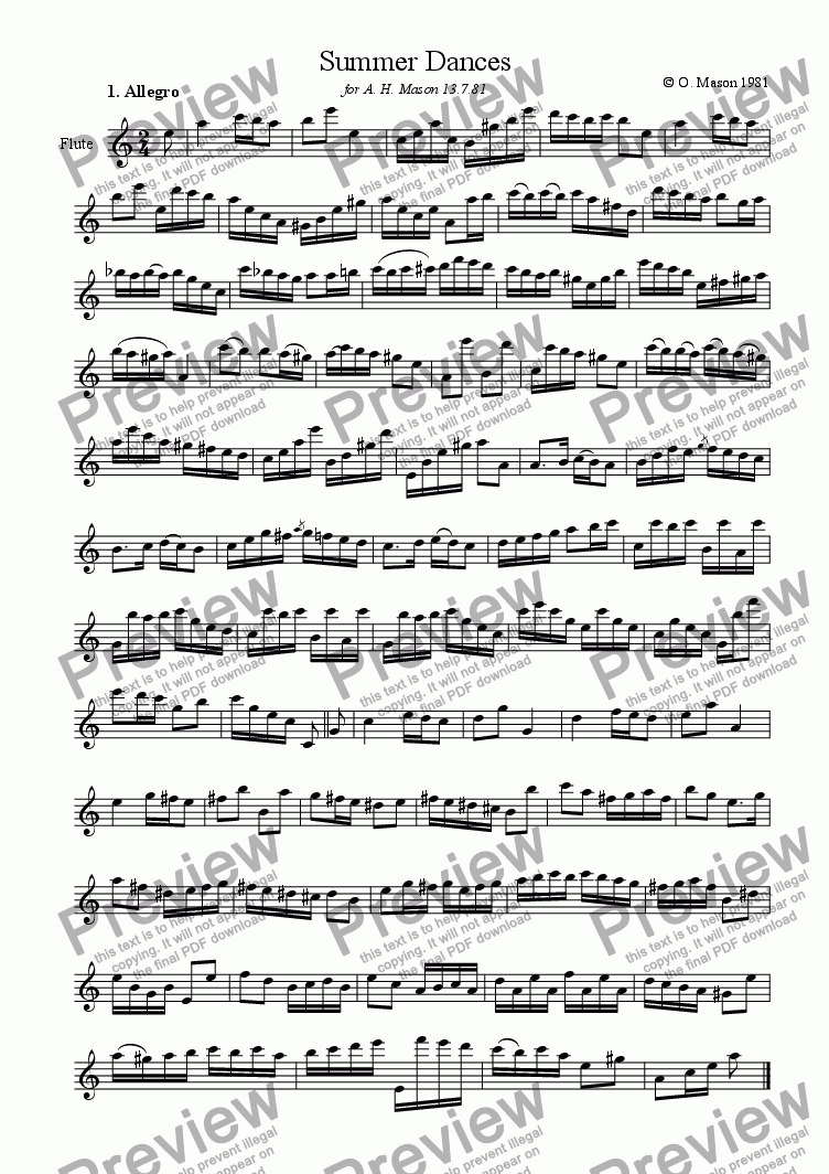 page one of Summer Dances for solo Flute