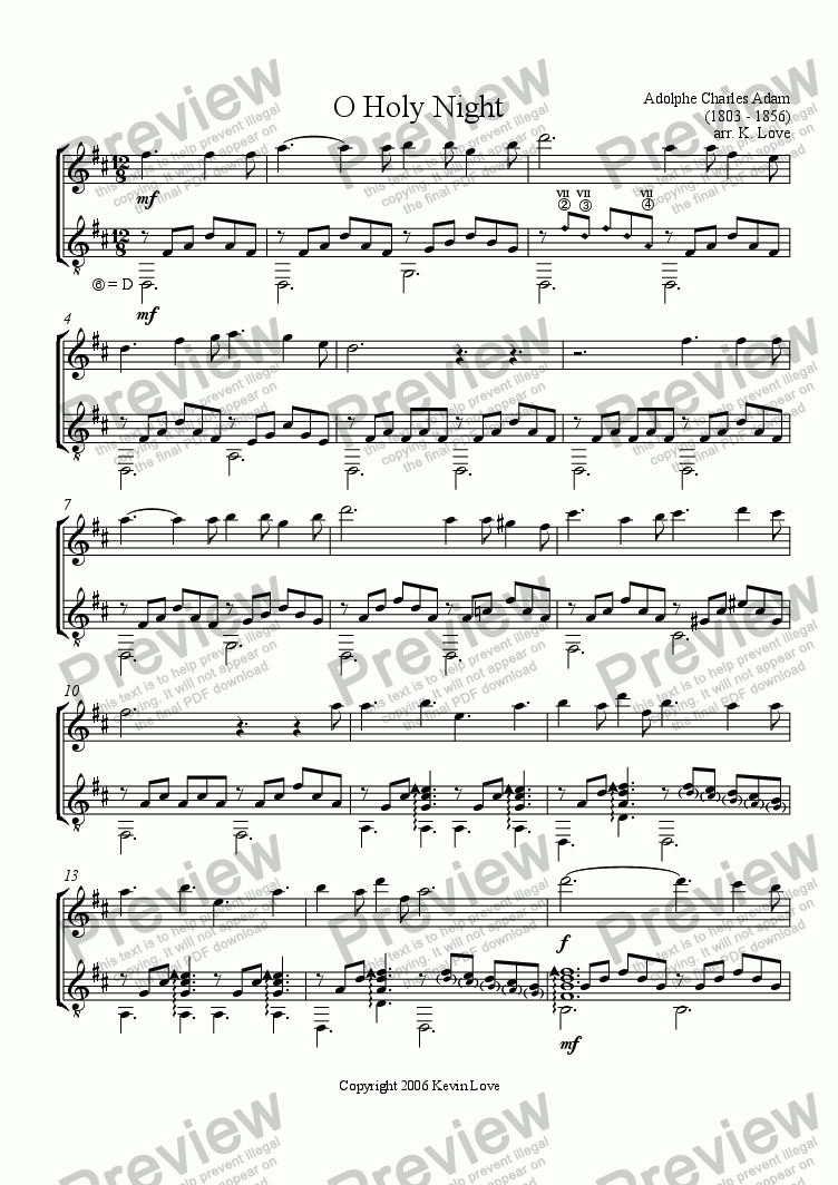 page one of O Holy Night (Violin and Guitar)
