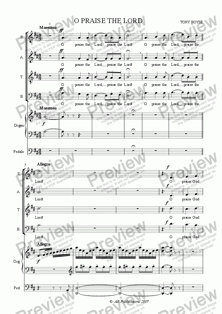 page one of Anthem: O Praise The Lord  (SATB + Organ)ASALTTEXT