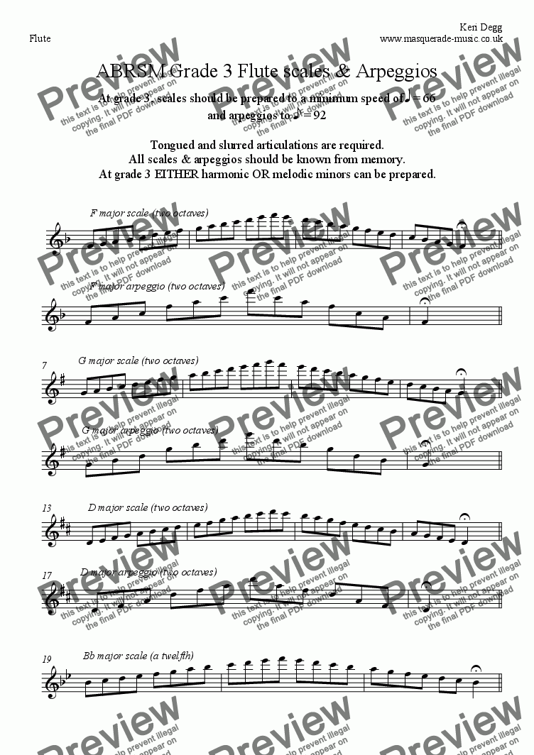 page one of Grade 3 Flute scales ABRSM