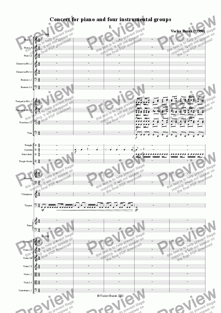 page one of Concert for piano and four instrumental groups 1st movementASALTTEXT