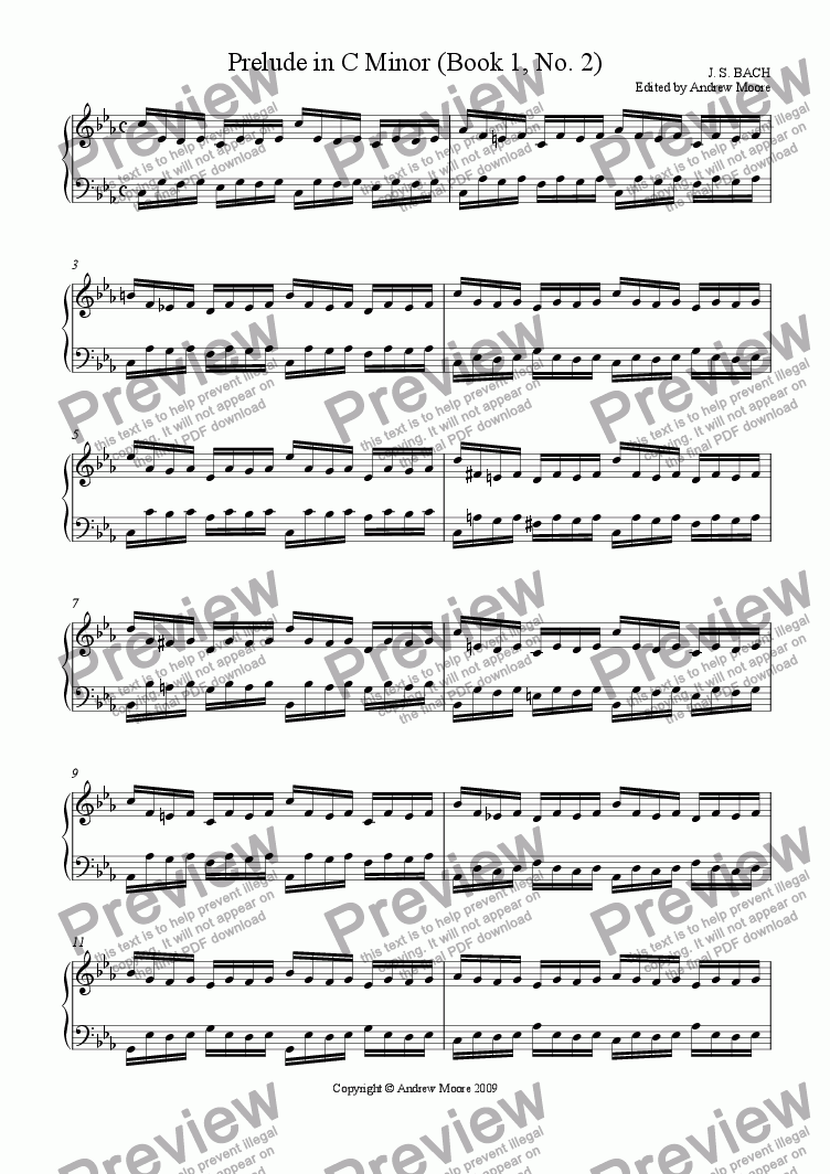 page one of Prelude in C Minor (Book 1, No 2)