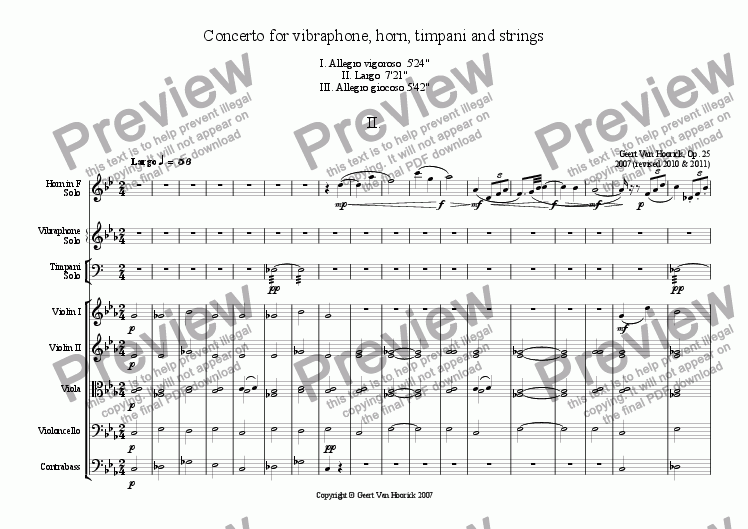 page one of Concerto for vibraphone, horn, timpani and strings - II Largo
