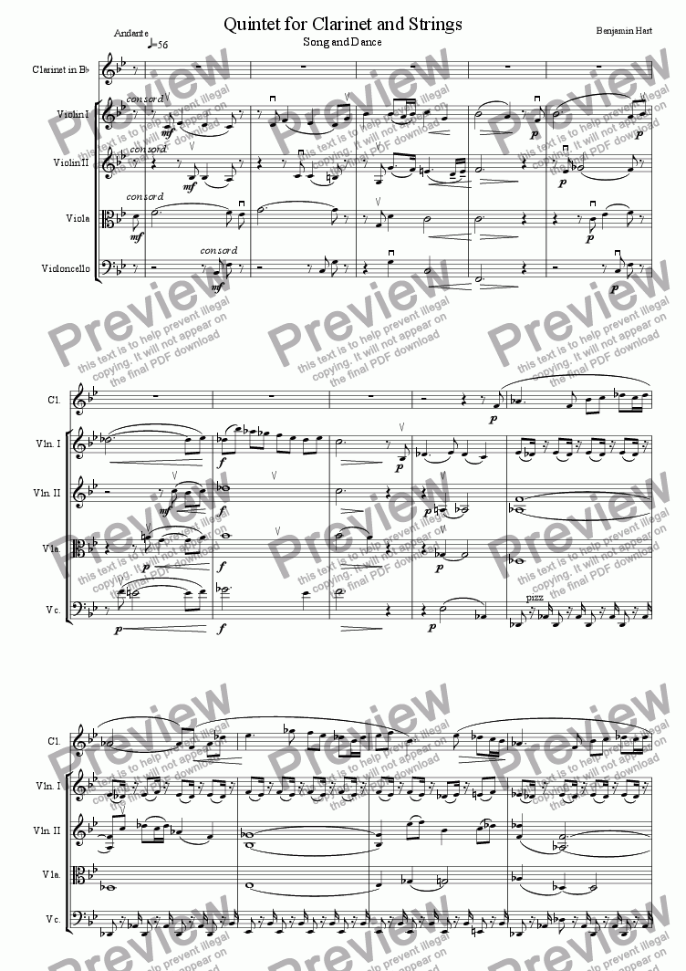 page one of Quintet for Clarinet and Strings; Song and Dance, Andante