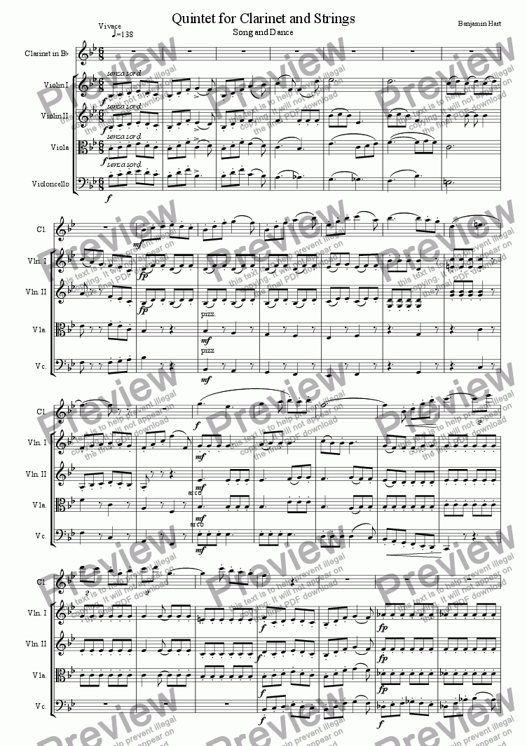 page one of Quintet for Clarinet and Strings; Song and Dance, Vivace