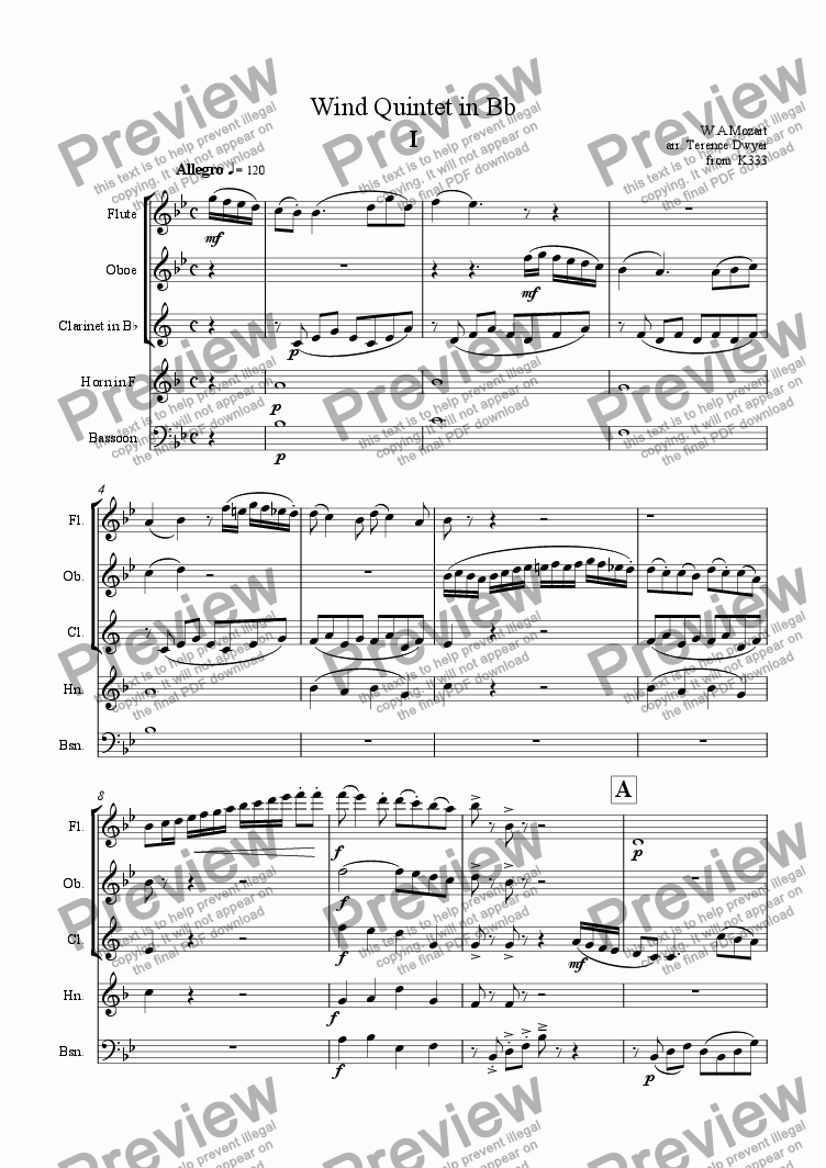 page one of Wind Quintet in Bb
