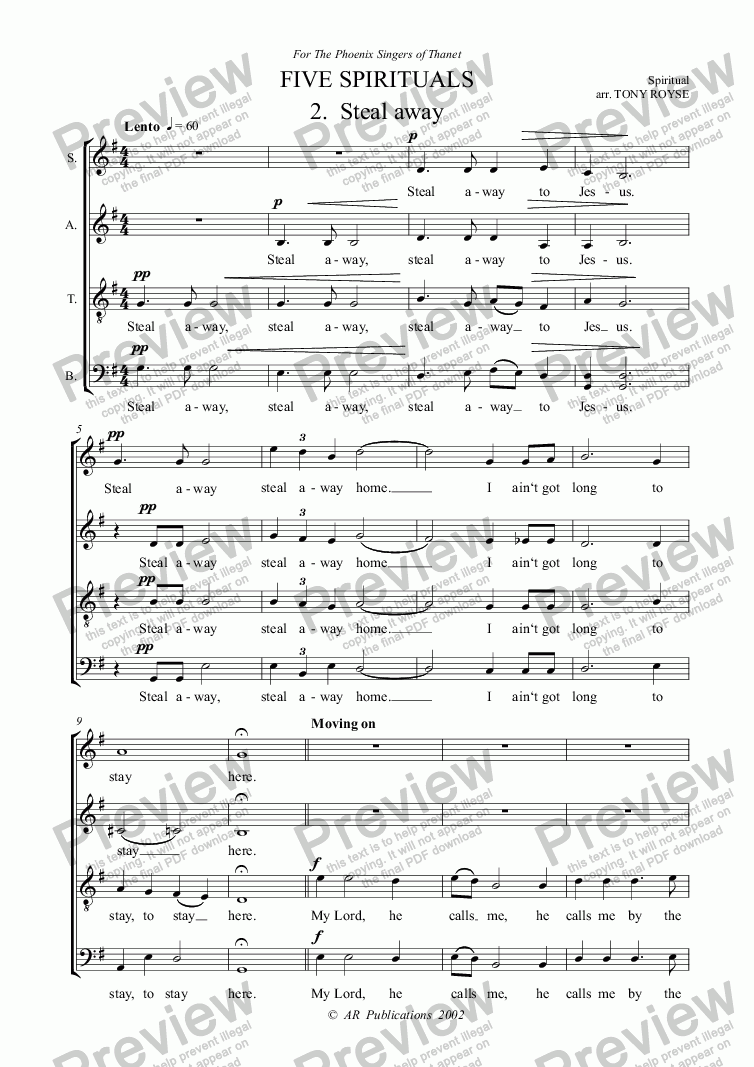 page one of FOUR SPIRITUALS 2. Steal Away (SATB unacc.)