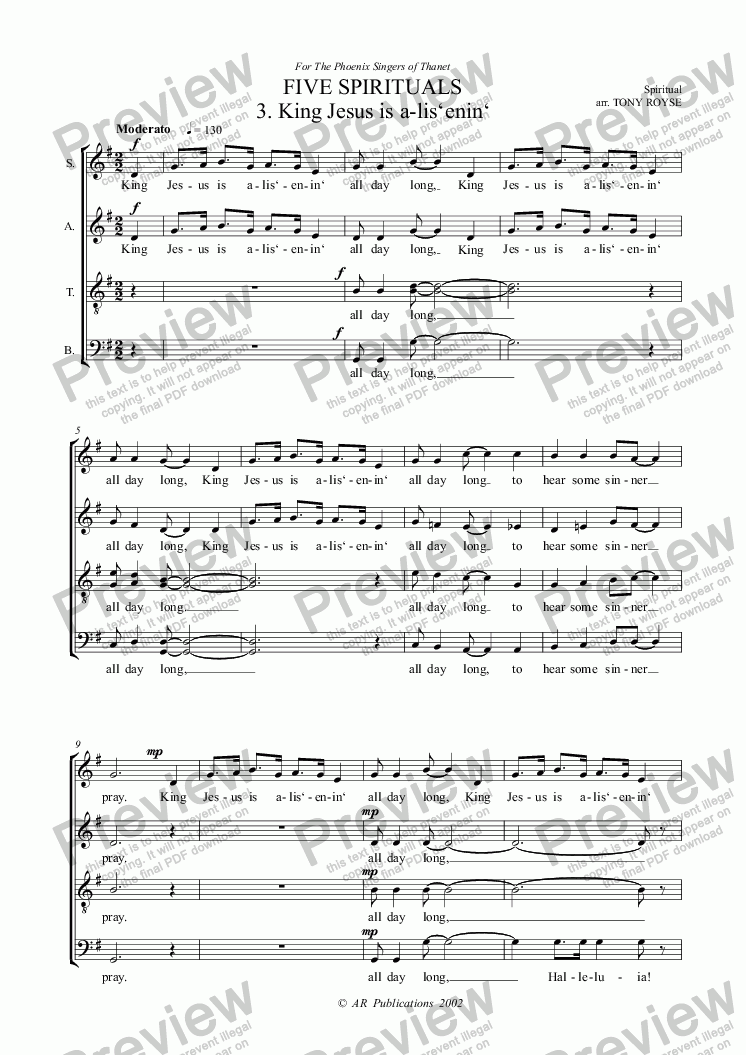 page one of FOUR SPIRITUALS 3. Jesus Is A-Listening (SATB unacc)