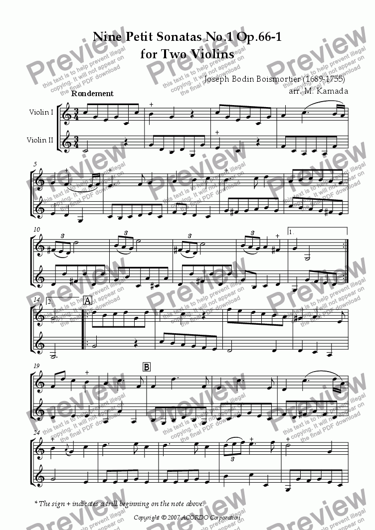 page one of Nine Petit Sonatas No.1 Op.66-1 for Two Violins