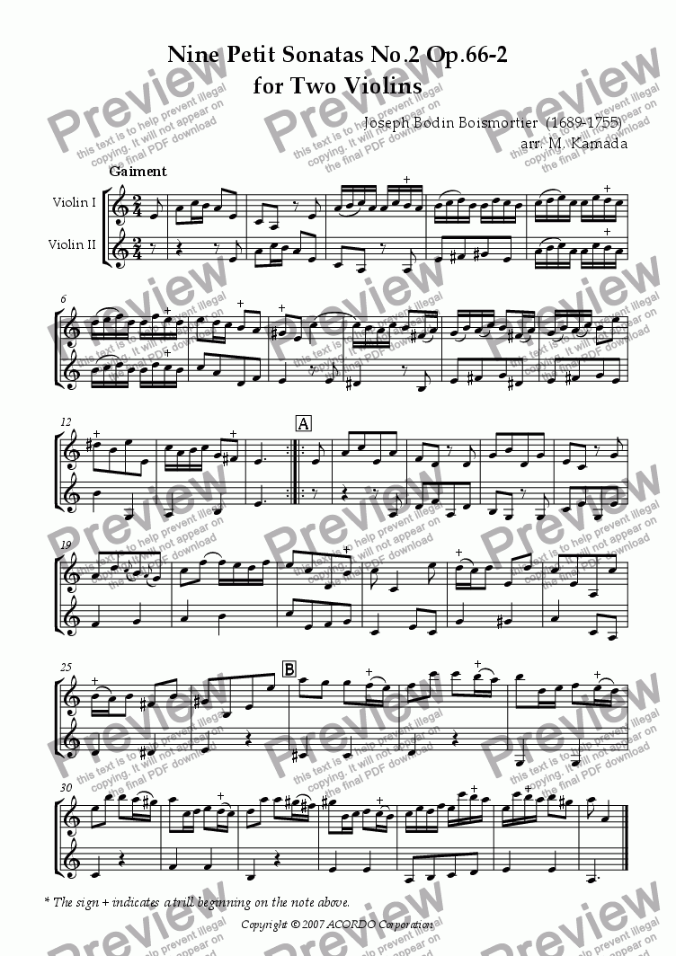 page one of Nine Petit Sonatas No.2 Op.66-2 for Two Violins