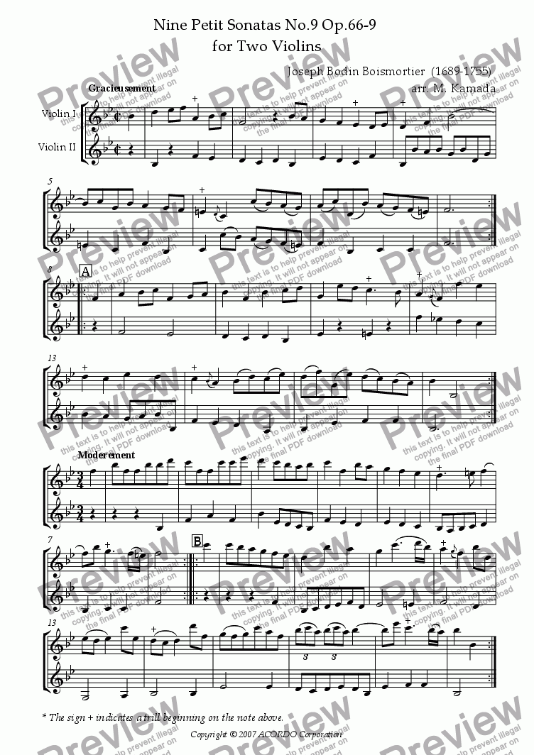 page one of Nine Petit Sonatas No.9 Op.66-9 for Two Violins