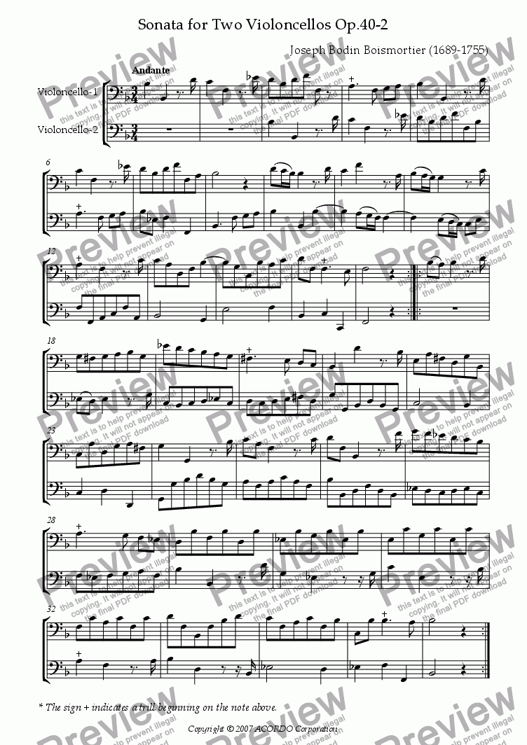 page one of Sonata (Duet) for Two Violoncellos Op.40-2