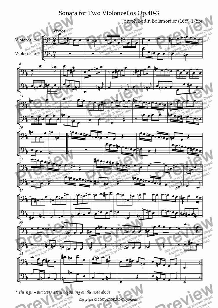 page one of Sonata (Duet) for Two Violoncellos Op.40-3