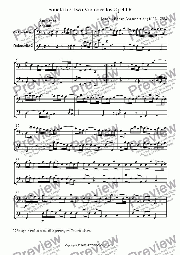 page one of Sonata (Duet) for Two Violoncellos Op.40-6