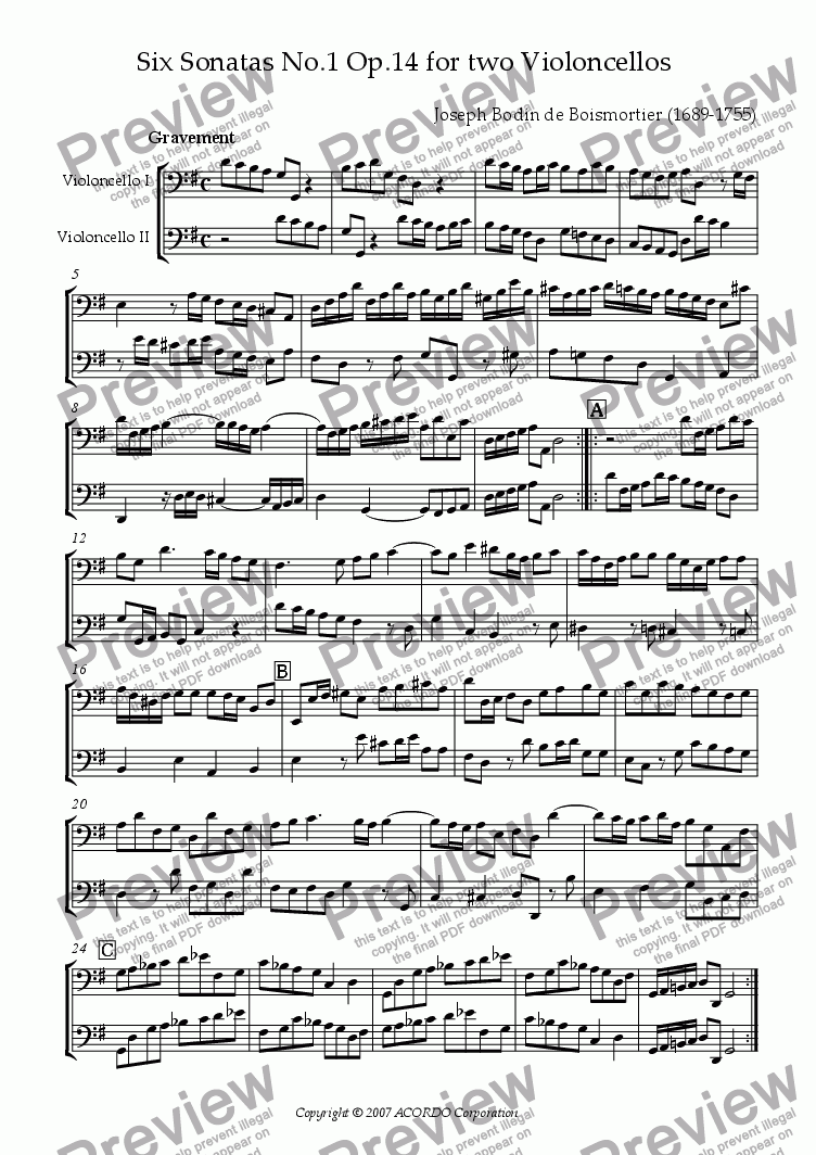 page one of Sonata (Duet) for Two Violoncellos Op.14-1