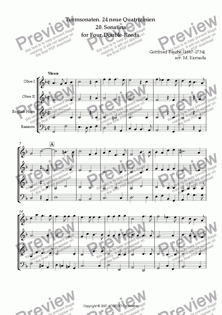 page one of Turmsonaten. 24 neue Quatrizinien 20. Sonatina for Double-Reeds