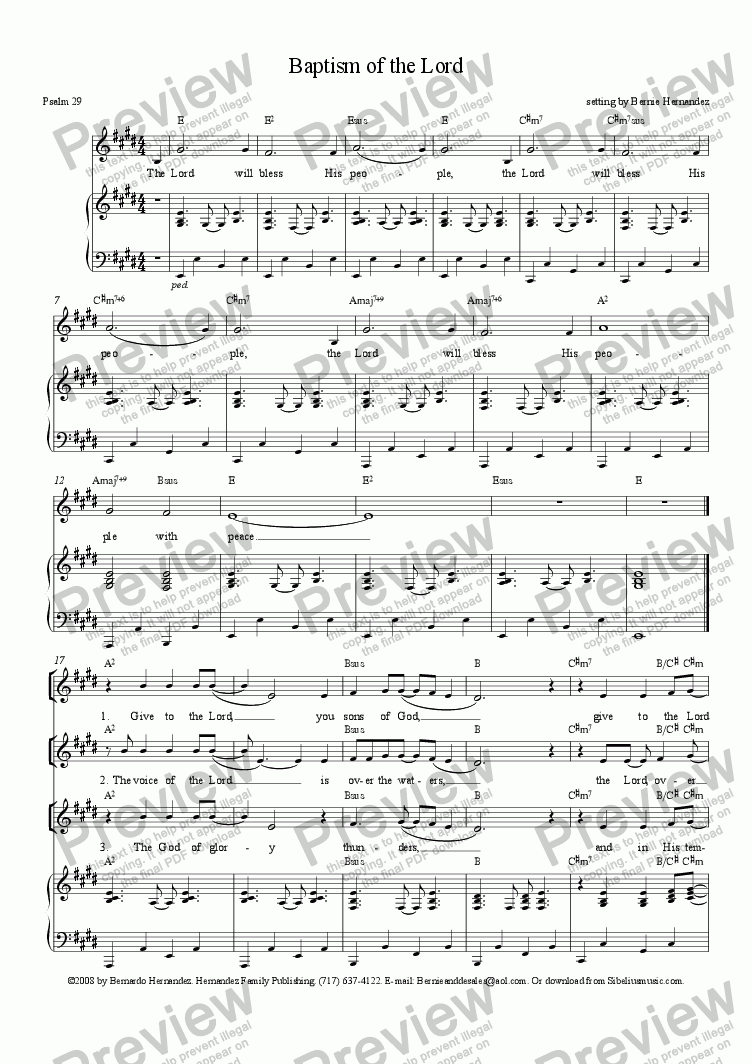 page one of Responsorial Psalm - Baptism of the Lord, Yr. A