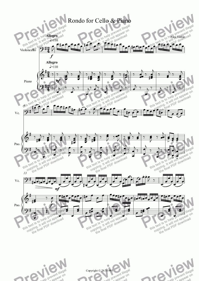 page one of Rondo for Cello & Piano