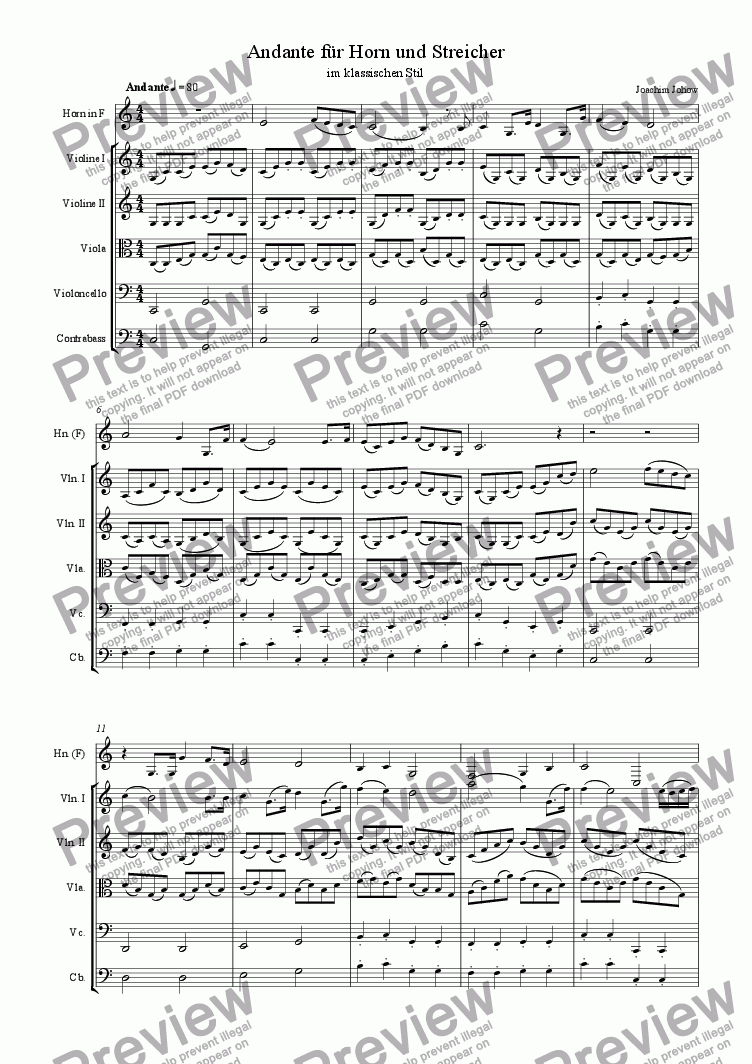 page one of Andante 1 for Horn and String Orchestra (classic style)ASALTTEXT