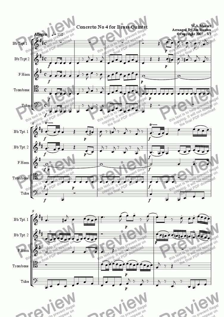 page one of Mozart Violin Concerto No 4 for Brass Quintet