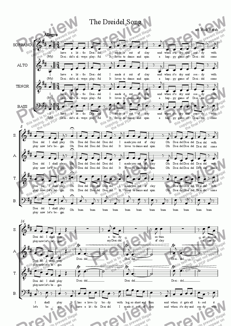 page one of The Dreidel Song [SATB Choir]ASALTTEXT