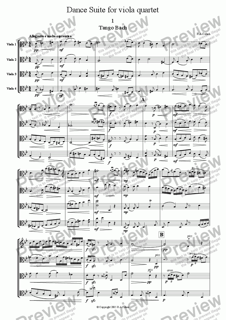 page one of DANCE SUITE - for viola quartet