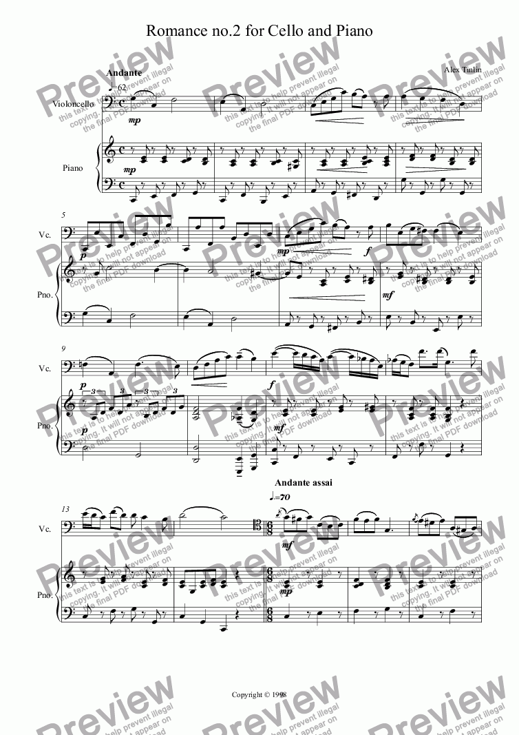 page one of Romance no.2 for Cello & Piano