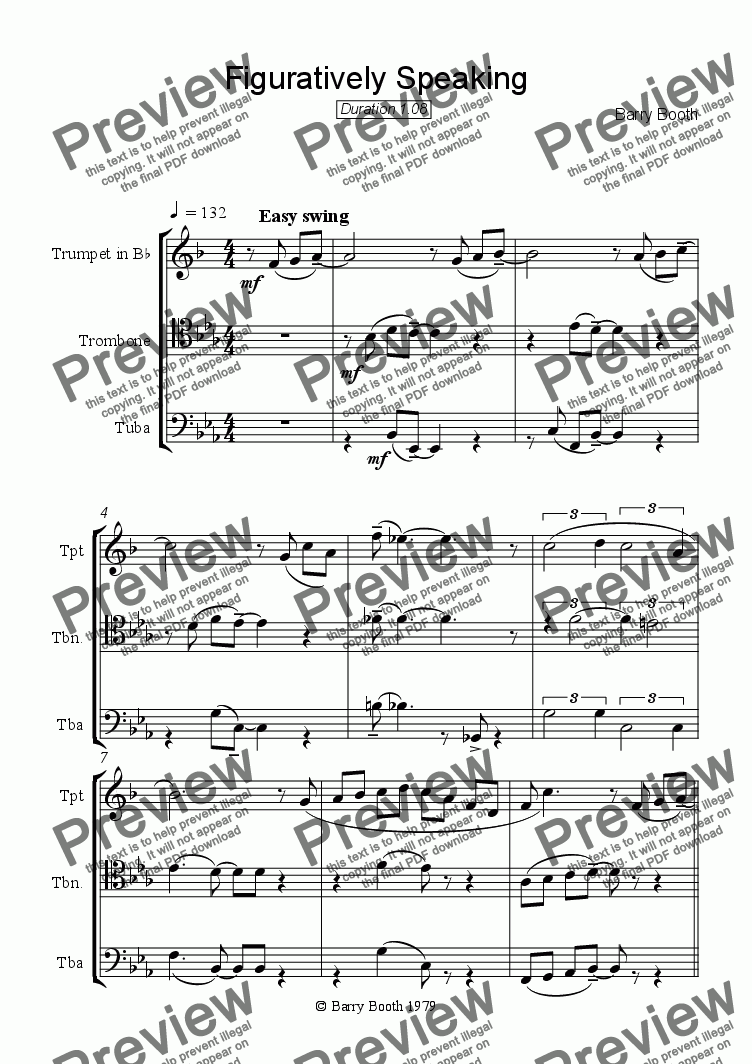 page one of Figuratively Speaking (brass trio)