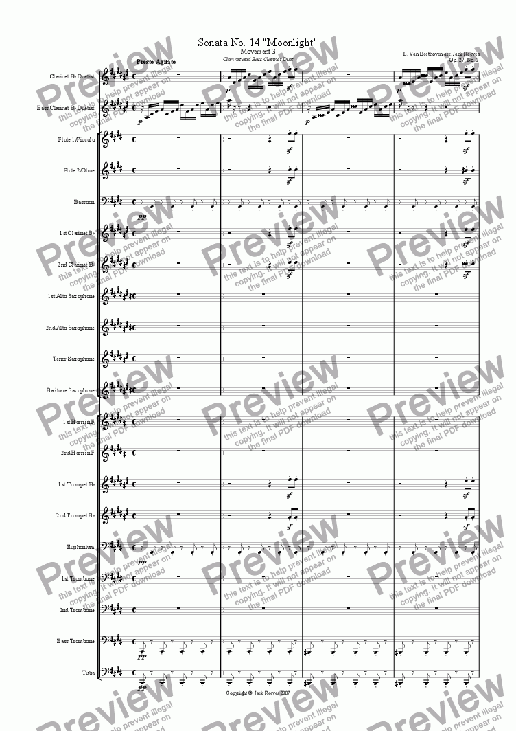 page one of Moonlight Sonata - 3rd Movement (C# Minor) - Wind Band with Clarinet and Bass Clarinet Duet