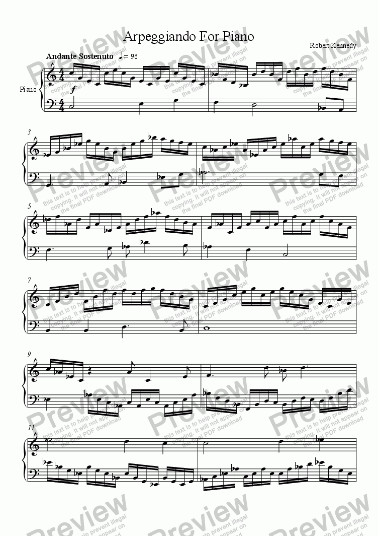 page one of Arpeggiando For Piano