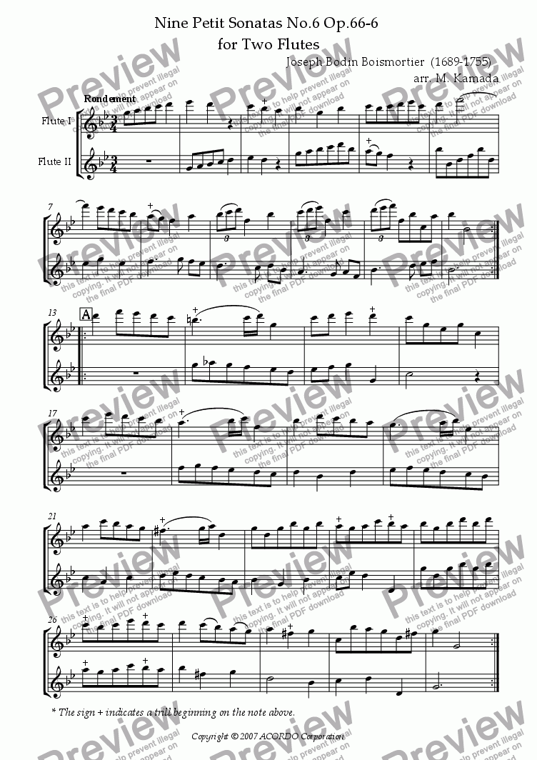 page one of Nine Petit Sonatas No.6 Op.66-6 for Two Flutes