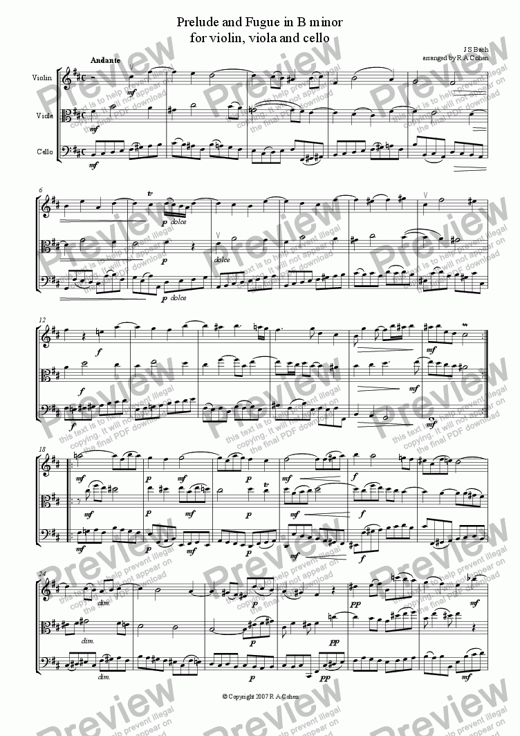 page one of Bach - PRELUDE and FUGUE in B minor - for string trio