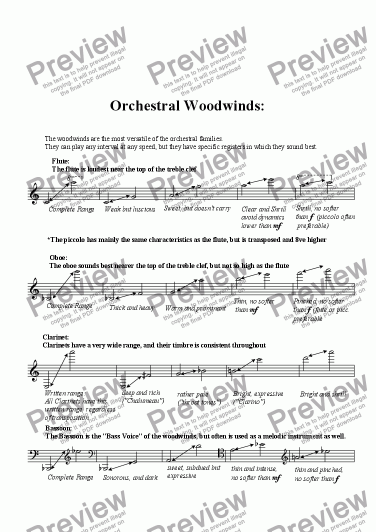 page one of Orchestral Woodwinds ( A tutorial)