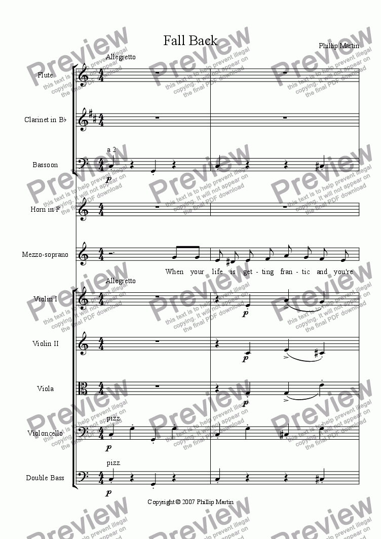 page one of Fall back, orchestral versionASALTTEXT