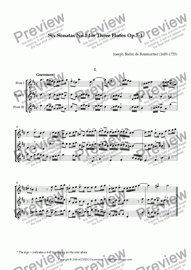 page one of Six Sonatas No.1 for Three Flutes Op.7-1